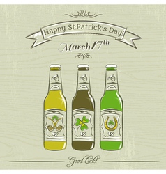 Card for St Patricks Day with three bottles of bee vector image
