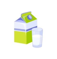 Carton And Glass Of Milk Based Product Isolated vector image