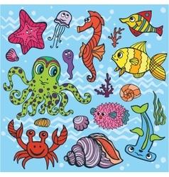 Cartoon Funny Fish Sea Life setColored Doodle vector