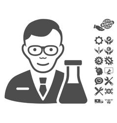 Chemist icon with tools bonus vector