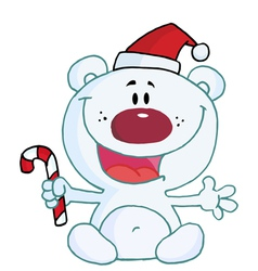 Christmas Polar Bear Holding Candy Cane vector image