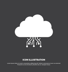 Cloud computing data hosting network icon glyph vector