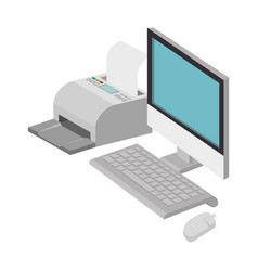 computer desktop with printer vector image