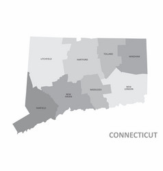 Connecticut counties map vector