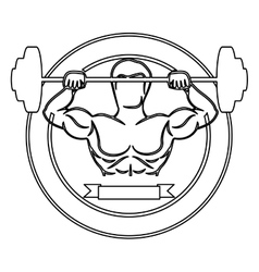 Contour circular border with muscle man lifting a vector