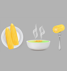 corn food set realistic isolated vector image