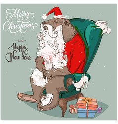 cute santa bear with hares on armchair vector image