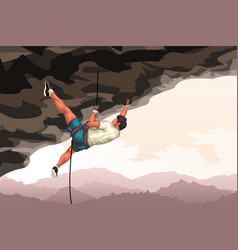 Detailed climber in cave vector