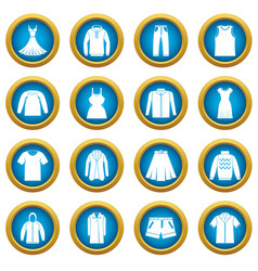 Different clothes icons blue circle set vector