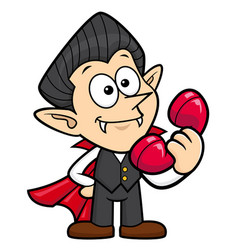 Dracula character and phone halloween day vector