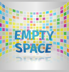 Empty space banner on colorful tiles curve wall vector