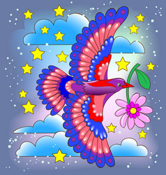 Exotic bird flying at night sky for baby book vector