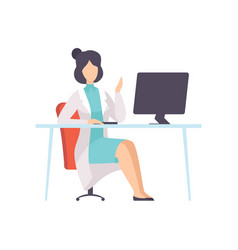 Female doctor character working at desk with vector