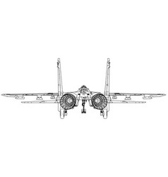 Fighter jet wireframe concept blue purple vector