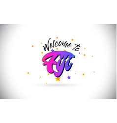 Fiji welcome to word text with purple pink vector