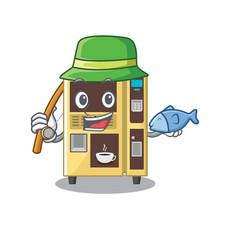 Fishing coffee vending machine in a karakter vector