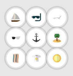 Flat icon season set of deck chair wiper scuba vector