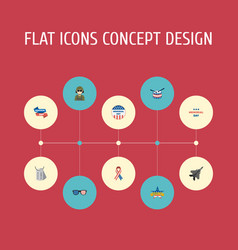 flat icons identity aircraft awareness and other vector image