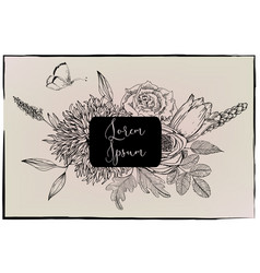 floral frame -black and white vector image