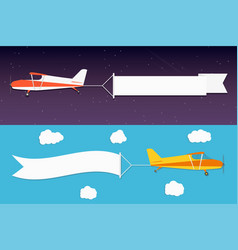 Flying advertising banner planes with horizontal vector