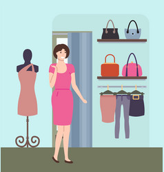 girl choosing clothes shopping in boutique vector image