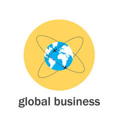 global business icon flat style vector image