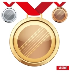 Gold Medal with the symbol of a cricket inside vector image