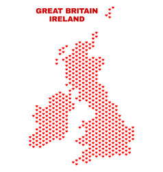great britain and ireland map - mosaic of love vector image