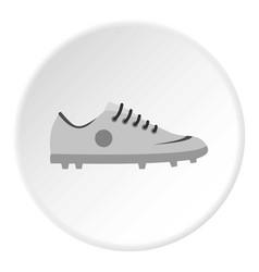 Grey soccer shoe icon circle vector
