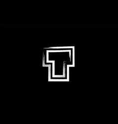 Grunge black and white alphabet letter t logo vector