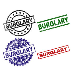 Grunge textured burglary stamp seals vector
