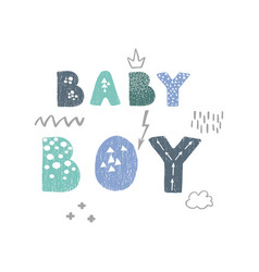 Hand drawn lettering - baby boy vector
