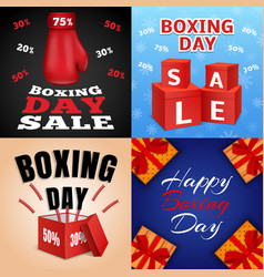 happy boxing day banner set realistic style vector image