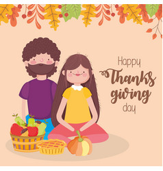 happy thanksgiving day couple with pie pumpkin vector image