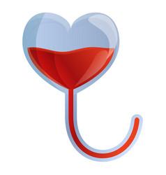 Heart blood transfusion icon cartoon style vector