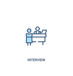 Interview concept 2 colored icon simple line vector