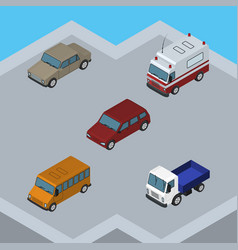 Isometric automobile set of lorry car first-aid vector
