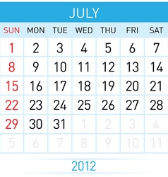 july calendar vector image