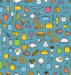 Kitchen tools and meal silhouette icons vector image vector image