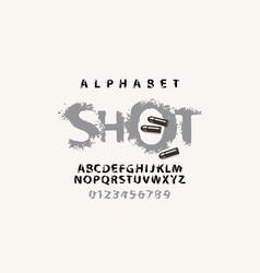 lettering shot and set splash alphabet letters vector image
