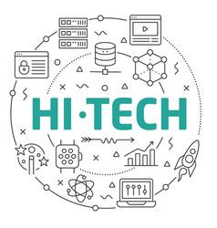 line flat circle hitech vector image