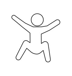 Line pictogram man silhouette doing exercise vector