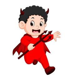 little kids in halloween red devil costume vector image