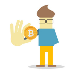 man hold bitcoin coin money flat cartoon vector image