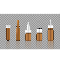 Mock up realistic amber cosmetic serum ampoule vector