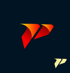 Modern letter p logo speed fast design concept vector