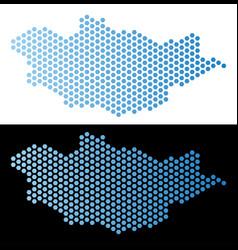 Mongolia map hex-tile scheme vector
