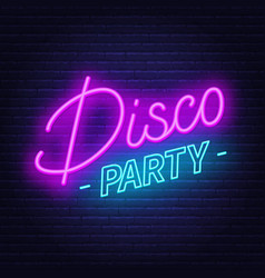 neon sign disco party on brick wall background vector image