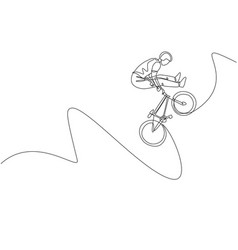 one continuous line drawing young bmx bicycle vector image