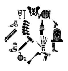orthopedist bone tools icons set simple style vector image